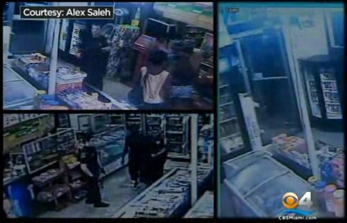 Store owner Alex Saleh set up cameras after believing that police were unlawfully harassing his employees and customers. On the footage captured, he says police are seen illegally searching his store. (Courtesy Alex Saleh/CBS Miami)
