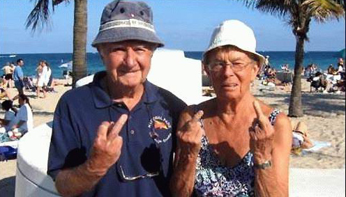 old people middle finger