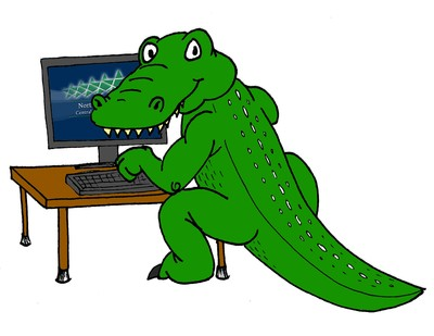 alligator on computer