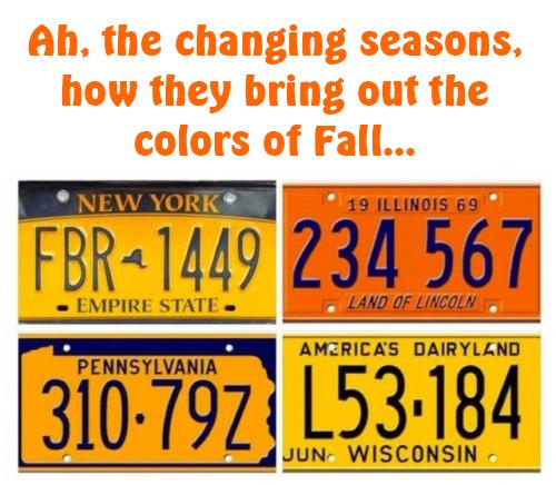 fall seasons license plates