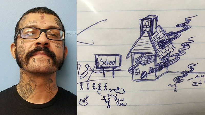 Robert Paul Alexander Edwards shown next to an image of school violence deputies say was drawn on a student's homework assignment. (Gulf County Sheriff's Office)