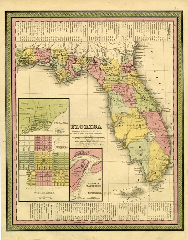 Map of Florida by S. Augustus Mitchell (ca. 1849)
