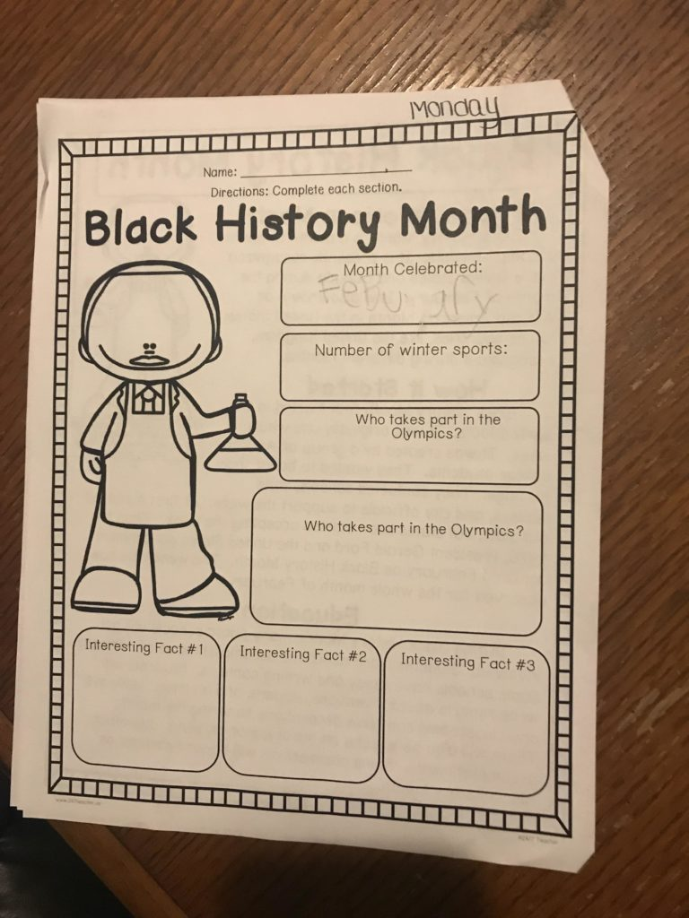 black history month school worksheet