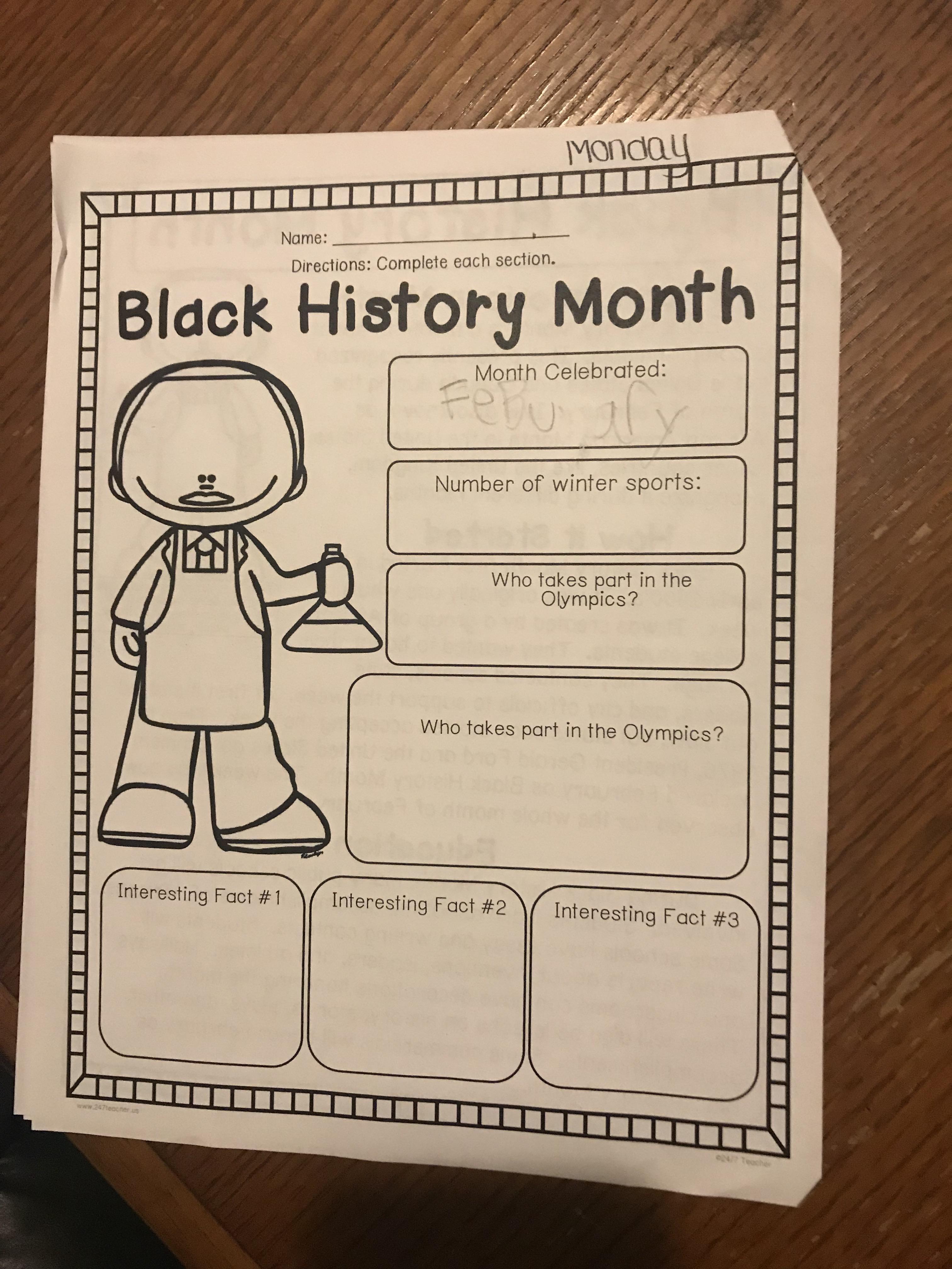 Black history month worksheet in a florida school ibookread Download