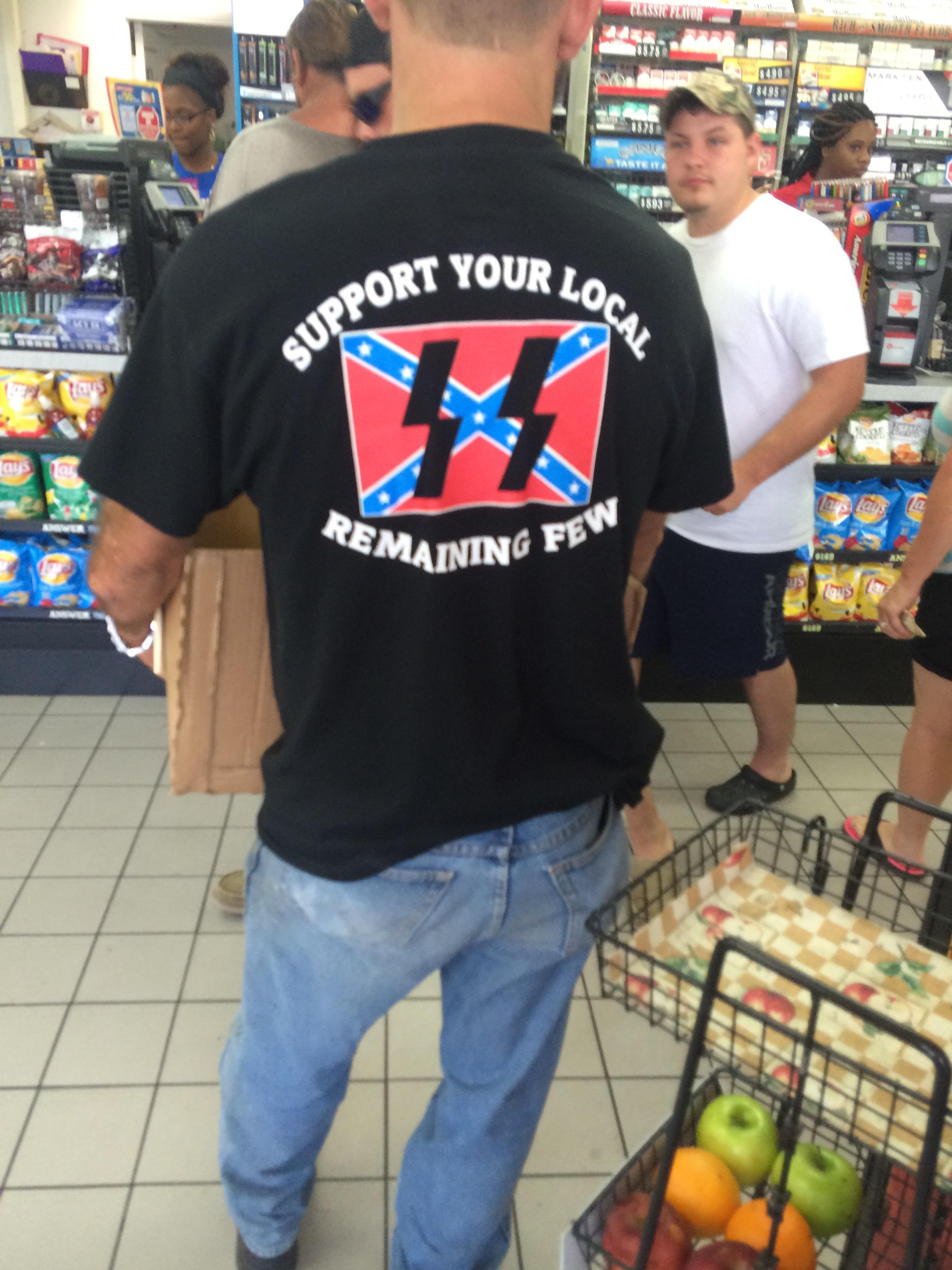 Circle K Delivery Guy Wears a Nazi Schutzstaffel Rebel Flag